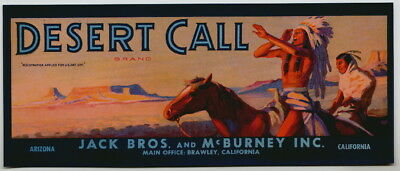 DESERT CALL Vintage Fruit Crate Label Native American Indian, AN ORIGINAL LABEL