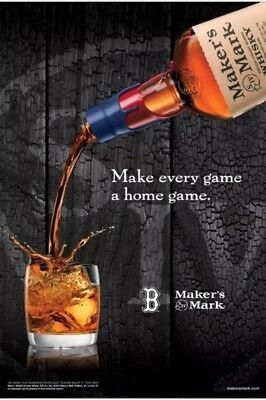 Makers Mark /Boston Red Sox Poster. New. 24 By 36inch