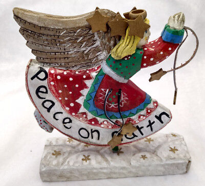 """Wood 9""""Peace on Earth Angel Figure Statue Leather Straps Stars Xmas Hand Painted"""