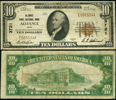Alliance OH-Ohio $10 1929 T-1 National Bank Note Ch #3721 Alliance First NB Fine