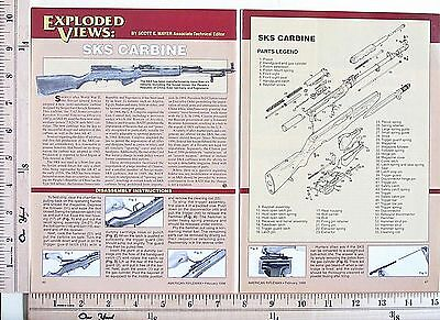 1998 SKS 7.62x39mm cal Autoloading Carbine EXPLODED VIEWS Magazine Article 4219