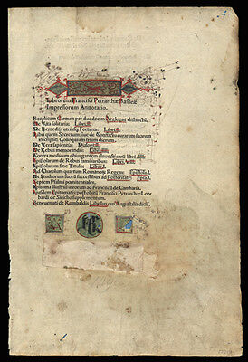 Francesco Petrarca Highly Decorated 1496 Incunable Leaf from  Poetry & Sonnets