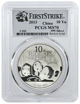2013 10 Yuan People's Republic Of China 1 oz 999 Chinese Silver Panda PCGS MS70