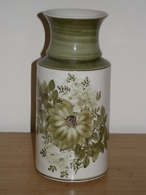 """JERSEY POTTERY VASE APPROX 9"""" TALL 23cm. GREEN WITH FLOWERS.VERY PRETTY."""