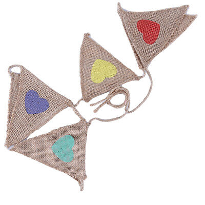 Vintage Rustic Hessian Burlap Bunting Triangle Banner for Wedding Party Decor B