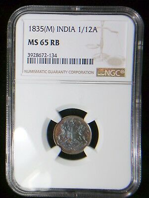 British East India Company 1835 m 1/12 Anna *NGC MS-65 RB* Only 1 Graded Higher