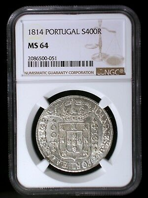 Kingdom of Portugal 1814 Silver 400 Reis *NGC MS-64* Only 2 Graded Higher