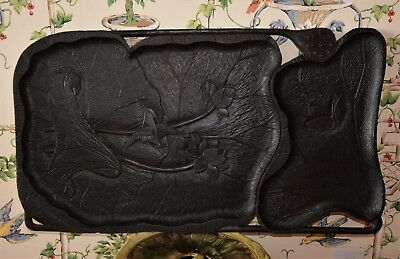 Antique French Aesthetic Movement Black Forest Tray Butterfly, Bird, Water Lily