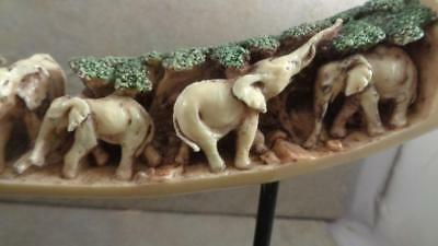 "Rosin Art Elephant Horn With Carved Elephant Family In the a Forest  16"" Long"
