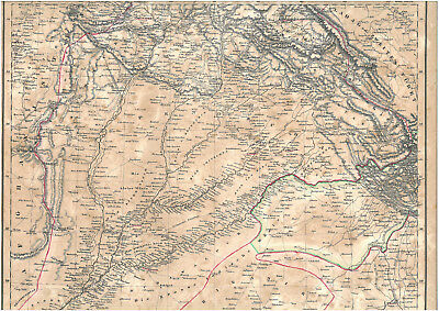 Real 176 year old map of PUNJAB Pandschab State of Sikhs Sikh Agra Amritsar 1842