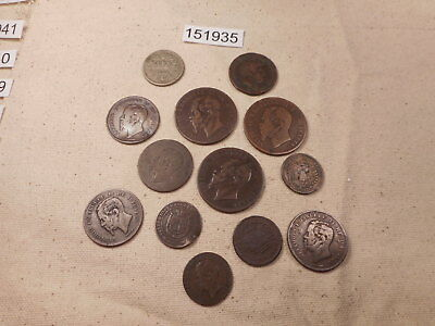 Lot - Thirteen (13) Mixed Older Italy Coins 1800's One from 1700's - # 151935