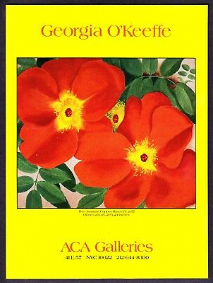"""1989 Georgia O'Keeffe """"Two Austrian Copper Roses"""" painting NYC Gallery print ad"""