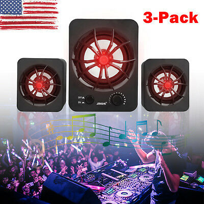 3PCS USB Wired LED Computer Speakers Stereo 3.5mm Super Bass Music For Laptop PC