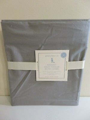 Pottery Barn Kids Organic Solid Grey Toddler Duvet Cover New