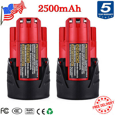 2x 12V 2.5Ah For Milwaukee 48-11-2460 48-11-2420 M12 Lithium Ion Replace Battery