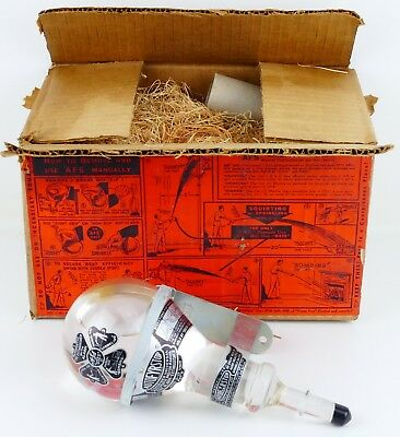 NOS Vintage AUTOFYRSTOP Glass Grenade Bomb Fire Extinguisher, Wall Bracket, Box