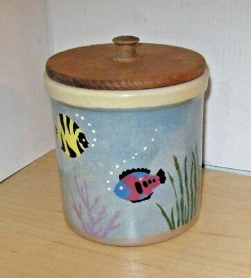 Robinson Ransbottom 2-Qt High Jar Canister Crock Hand-Painted Fish, R.r.p. Co.