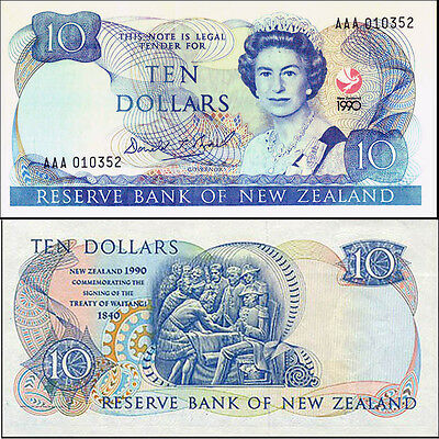 New Zealand 1990 AAA 017990 + Ovpt 150th Anniversary Commemorative Banknote p176