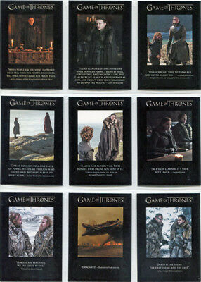 Game of Thrones Season 7 Quotable Complete 9 Card Chase Set Q61 to Q69