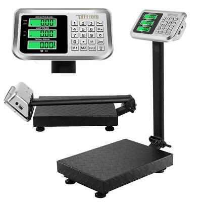 US 100/0.1kg 220lb Digital Shipping Postal Scale Floor Platform Stainless Weight