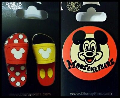 Disney Parks 3 Pin Lot Mickey & Minnie sandals set + Mouseketeers