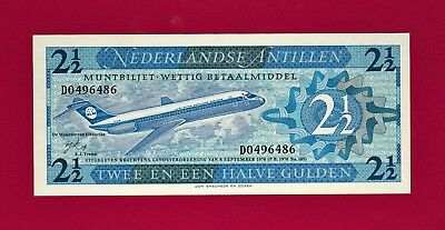 RARE & BEAUTIFUL Netherlandse Antillen Note: 2 1/2 Gulden 1970 Banknote - (P-21)