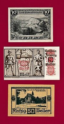 RARE & BEAUTIFUL LOT of THREE NOTGELD SCARCE NOTES: 10, 20, and 50 Heller 1920