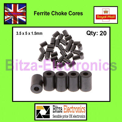 20 Pcs Ferrite Choke Cores Beads EMI 3.5 x 5 x 1.5mm UK Seller