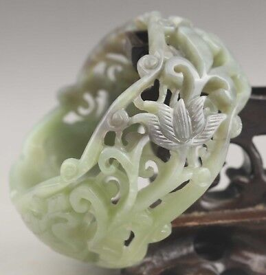 China natural hetian jade bangle hand carved hollowed out flower Bracelet