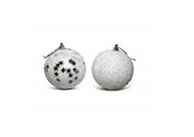 Pack of 12 - Luxury 80mm White Sparkly Decorated Christmas Tree Baubles- ES503