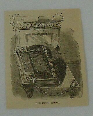 1887 small magazine engraving ~ CHAINED BOOK