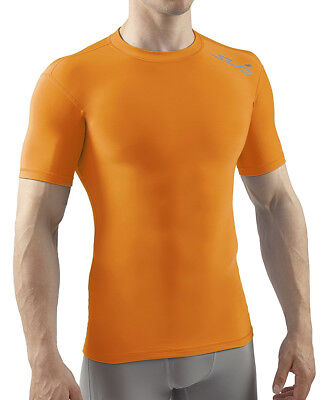 Sub Sports Cold Thermal Mens Short Sleeve Top Compression Baselayer - Orange