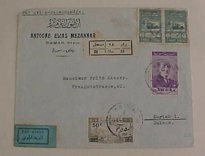 Syria  Cover Revenue Used For Postage 1949 Registered B/s Syria  21/2 Pair