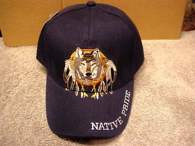 DREAMCATCHER WOLF FEATHERS Native Pride Indian Baseball Cap ( Dark ... ec6d559e5947