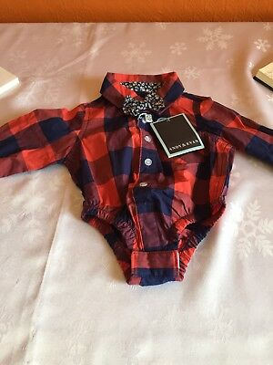 BNWT baby boy shirt checked with bow tie 3/6 months red and blue Andy and Evans