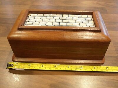 Vintage Hardwood Indian puzzle box with Mother of pearl tiled top