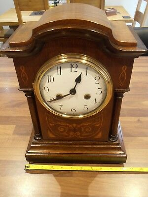 Antique Mahogany Inlaid Chiming Mantel Clock with Badische movement for service