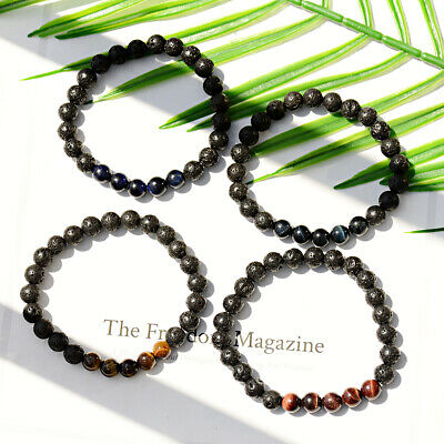 8mm Natural Aromatherapy Lava Stone Beads Healing Bracelet For Men Women Jewelry