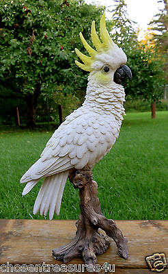 COCKATOO TROPICAL BIRD FIGURINE  ON TREE STUMP decoration ORNAMENT MEXICO 15 in.