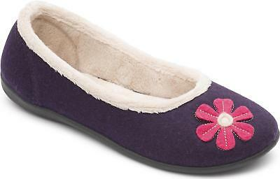 Padders HAPPY Ladies Womens Felt Wide (E Fit) Ballerina Pump Slippers Purple