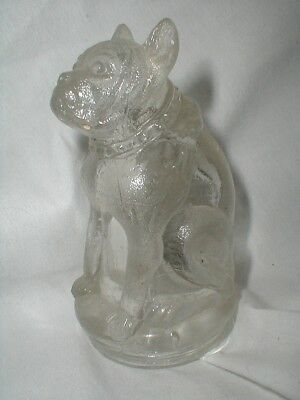 vintage 1940s RARE GLASS BULLDOG DOG dime store CANDY CONTAINER BOX SCULPTURE