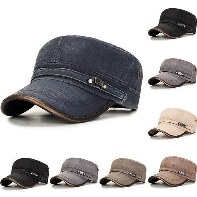f31bec1d2f41c6 Mens Washed Cotton Flat Top Hat Outdoor Sunscreen Military Army Peaked Dad  Cap