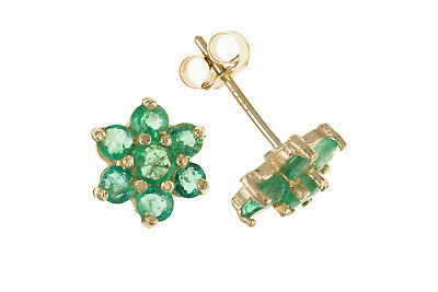 Emerald Cluster Earrings Solid 9 Carat Yellow Gold Stud Natural Stone Studs