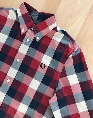 FRED PERRY LONG SLEEVE NAVY BLUE RED CREAM CHECK SHIRT S mod classic casuals ska