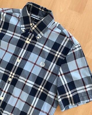 FRED PERRY SHORT SLEEVE BLUE / WHITE CHECK SHIRT S mod casuals classic original