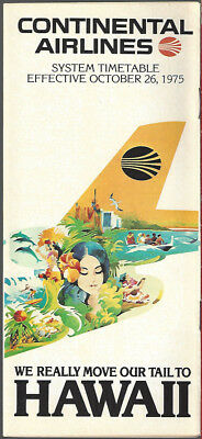 Continental Airlines system timetable 10/26/75 [8102]