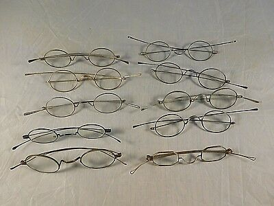 LOT of 10 ANTIQUE 1870-1900 EYEGLASSES OVAL LENS THIN STRAIGHT ARMS