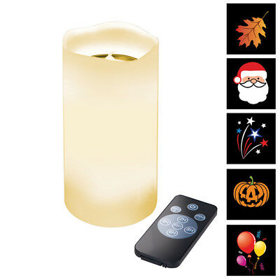 Flameless Wax Candle With Seasonal Projections, by Collections Etc
