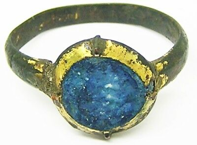 Medieval Gold Gilded Bronze Finger Ring with a Sapphire Paste gemstone Size 7
