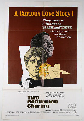 1969 British Film Poster Two Gentlemen Sharing Provocative Drama Great Graphics